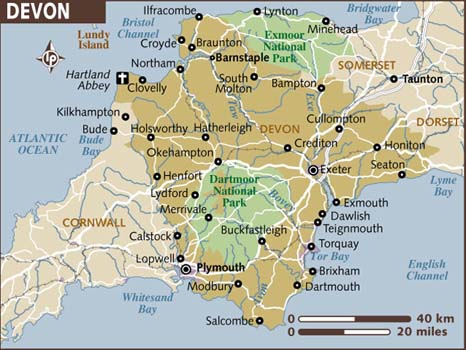 A map of Devon